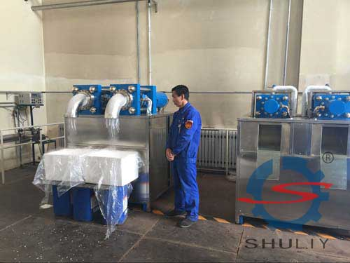 Production site of dry ice granular machine