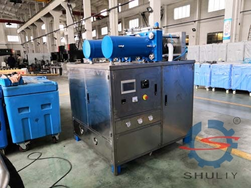 commercial dry ice pellet machine is prepared for shipping to U.S